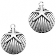 DQ European metal charms shell with seastar Antique Silver (nickel free)