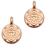 DQ European metal charms round with flower Rose Gold (nickel free)