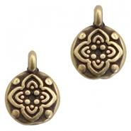 DQ European metal charms round with flower Antique Bronze (nickel free)