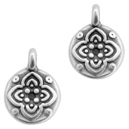 DQ European metal charms round with flower Antique Silver (nickel free)