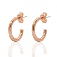 DQ creole earrings 15mm Rose Gold Plated