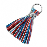 Tassels 1.8cm Silver-Multi Colour Red Blue