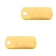 DQ European metal charms tag oblong 5x12mm Gold (nickel free)
