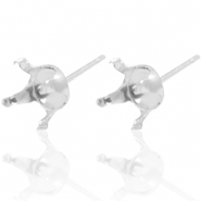925 Silver findings earpins with setting for Swarovski SS29 (6mm) Silver