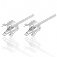 925 Silver findings earpins with setting for Swarovski PP32 (4mm) Silver