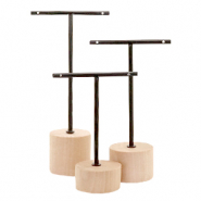 Jewellery display T-From with wooden standard for earrings (3pcs.) Natural (natural wood colour)-black