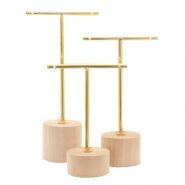 Jewellery display T-From with wooden standard for earrings (3pcs.) Natural (natural wood colour)-gold