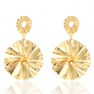 Trendy earrings 44mm round Gold (nickel free)