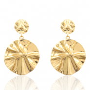 Trendy earrings 36mm round Gold (nickel free)
