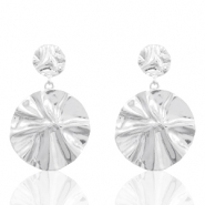 Trendy earrings 36mm round Silver (nickel free)