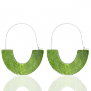 Trendy earrings resin Olive Green-Silver