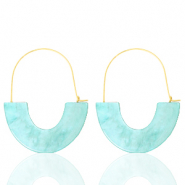 Trendy earrings resin Turquoise-Gold