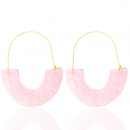 Trendy earrings resin Light Pink-Gold