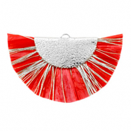 Tassels charm Silver-Haute Red