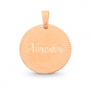"Stainless steel charms round 15mm ""forever"" Mix&Match Rose Gold"