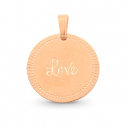 "Stainless steel charms round 15mm ""love"" Mix&Match Rose Gold"