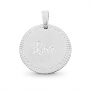 "Stainless steel charms round 15mm ""love"" Mix&Match Silver"