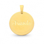 "Stainless steel charms round 15mm ""friends"" Mix&Match Gold"
