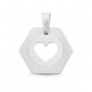 Stainless steel charms Hexagon heart Mix&Match Silver