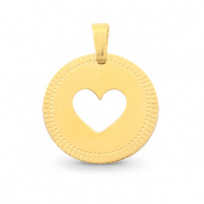 Stainless steel charms round 12mm heart Mix&Match Gold