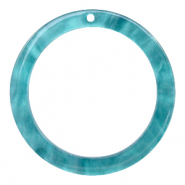 Resin pendants round 35mm Blue Atoll