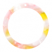 Resin pendants round 35mm Pink-Yellow
