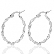 Stainless steel earrings creole 25mm twist Silver