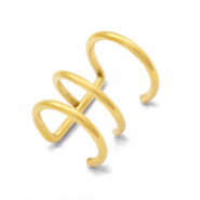 Stainless steel earrings ear cuffs 3 layer Gold
