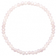 Top faceted bracelets 4x3mm Champagne Greige Half Opal-Pearl Shine Coating