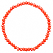 Top faceted bracelets 4x3mm Coral Red-Pearl Shine Coating