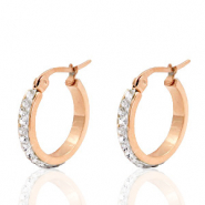 Stainless steel earrings creole 20mm strass Rose Gold