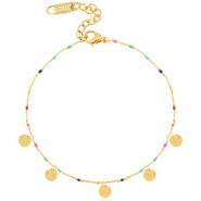 Stainless steel anklets rainbow coins Gold