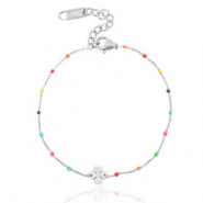 Stainless steel bracelets rainbow clover Silver
