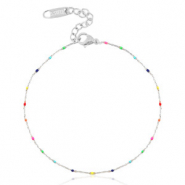 Stainless steel anklets rainbow Silver