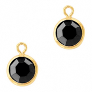 DQ Crystal glass charms round 6mm Gold-Jet Black