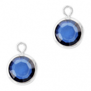 DQ Crystal glass charms round 6mm Silver-Denim Blue