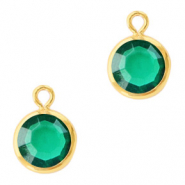 DQ Crystal glass charms round 6mm Gold-Emerald Green