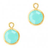 DQ Crystal glass charms round 6mm Gold-Caribbean Blue