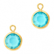 DQ Crystal glass charms round 6mm Gold-Aquamarine Blue