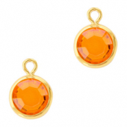 DQ Crystal glass charms round 6mm Gold-Sun Orange