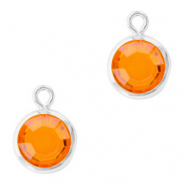 DQ Crystal glass charms round 6mm Silver-Sun Orange