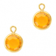 DQ Crystal glass charms round 6mm Gold-Sunflower Yellow