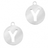 Stainless steel charms round 10mm initial coin Y Silver