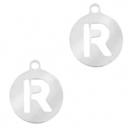 Stainless steel charms round 10mm initial coin R Silver