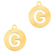 Stainless steel charms round 10mm initial coin G Gold