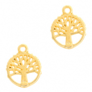 DQ European metal charms tree round 10mm Gold (nickel free)