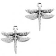 DQ European metal charms dragonfly Antique Silver (nickel free)