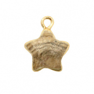 Natural stone charms star Porcini Brown-Gold