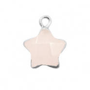 Natural stone charms star Icy Pink-Silver