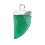 Natural stone charms tooth Quetzal Green-Silver